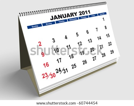 January sheet in a Calendar for 2011. 3d render - stock photo