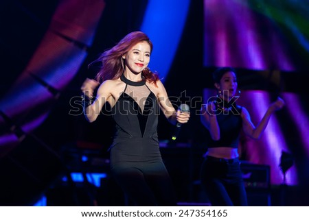 January 24 2015, Taipei Taiwan - ASUS year end party. Singer Della Ding performs on stage.