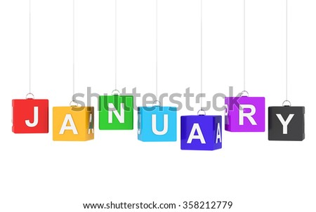 January text on colored hanging cubes - stock photo