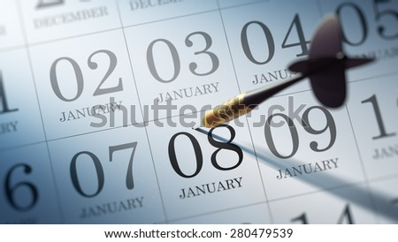 January 08 written on a calendar to remind you an important appointment.