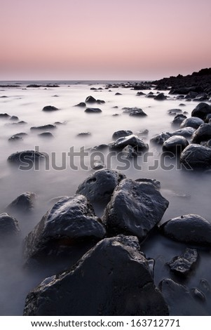 Janubio beach isunset, Lanzarote, Canary Islands, Spain - stock photo