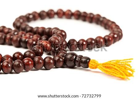 Japa Mala - Buddhist or Hindu prayer beads isolated on white - stock photo