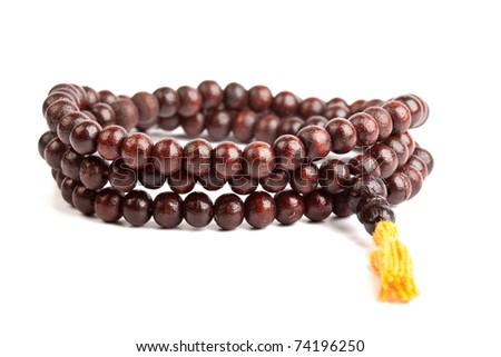 Japa Mala - Buddhist or Hindu prayer beadsi solated on white - stock photo