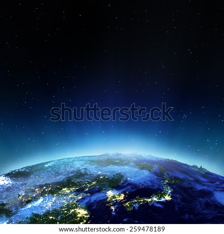 Japan and Korea. Elements of this image furnished by NASA - stock photo