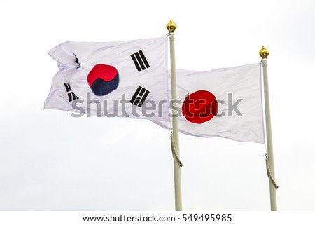 JAPAN AND KOREA SOUTH FLAGS