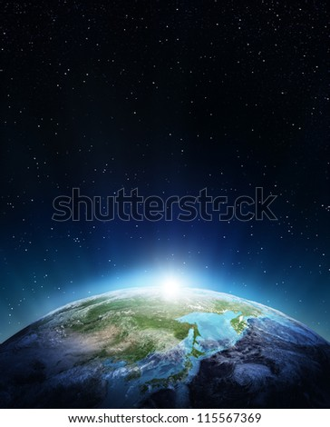 Japan and Siberia. Elements of this image furnished by NASA - stock photo