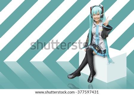 Japan anime cosplay , green set - stock photo