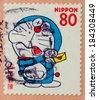 JAPAN - CIRCA 2000: A stamp printed in japan shows a popular cartoon character, Doraemon , circa 2000  - stock