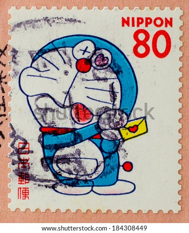 JAPAN - CIRCA 2000: A stamp printed in japan shows a popular cartoon character, Doraemon , circa 2000  - stock photo