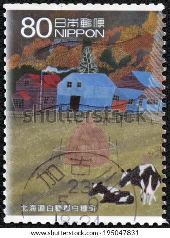 JAPAN - CIRCA 2000: A stamp printed in japan shows Hokkaido scenery, circa 2000 - stock photo