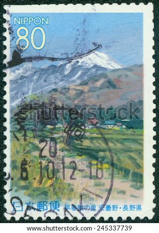 JAPAN - CIRCA 2000: A stamp printed in japan shows Nagano, circa 2000 - stock photo