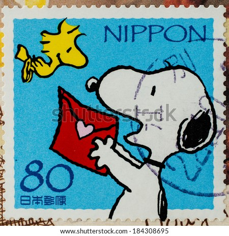 JAPAN - CIRCA 2000: A stamp printed in japan shows Snoopy, circa 2000  - stock photo
