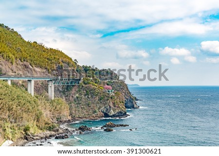 Japan Coast Landscape in Atami, Shizuoka, Japan. It is located about 100 km southwest of Tokyo. - stock photo