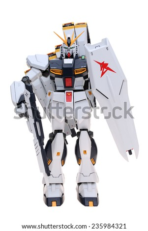 JAPAN - DECEMBER 7, 2014 : Plastic Figure for children of Gundam animation is standing on white background on December 7, 2014, Kagawa, Sikoku, Japan.  - stock photo