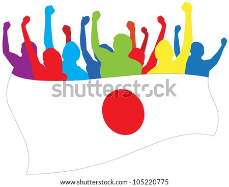 Japan fans illustration - stock photo
