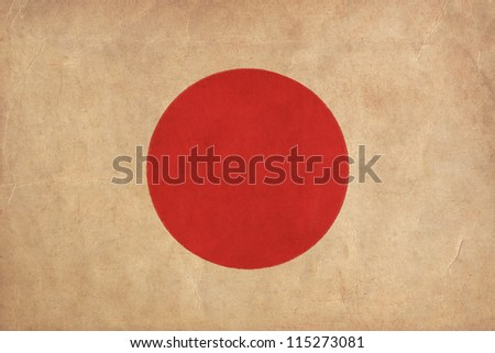 Japan flag drawing ,grunge and retro flag series - stock photo
