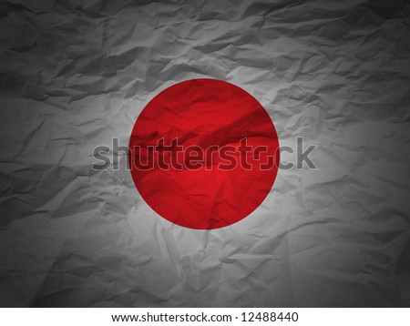 Japan flag on a grunge paper background