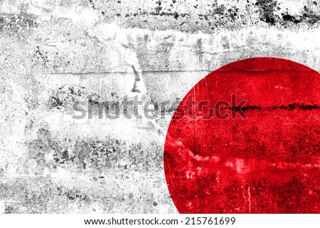 Japan Flag painted on grunge wall - stock photo