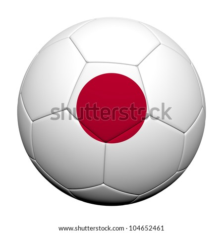 Japan Flag Pattern 3d rendering of a soccer ball