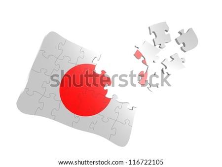 japan flag puzzle - stock photo