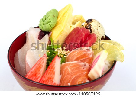 Japan food sashimi on the rice - stock photo