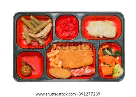 Japan Food set of meat fritter and other in a box isolated on white / Japan food (Bento).  Object with clipping path