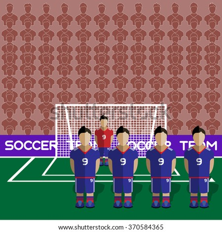 Japan Football Club Soccer Players Silhouettes. Computer game Soccer team players big set. Sports infographic. Football Teams in Flat Style. Goalkeeper Standing in a Goal. Raster illustration. - stock photo