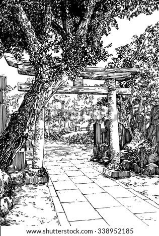 japan garden black and white dashed style sketch line art drawing with pen - Japanese Garden Bridge Drawing