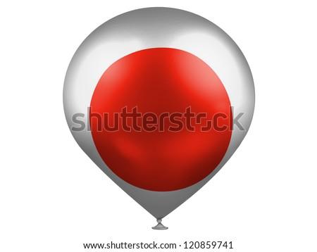 Japan. Japanese flag  on a balloon - stock photo