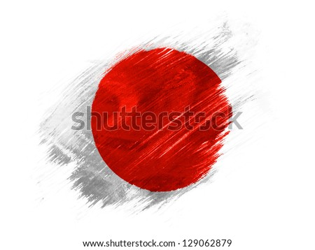 Japan. Japanese flag  painted with brush on white background - stock photo