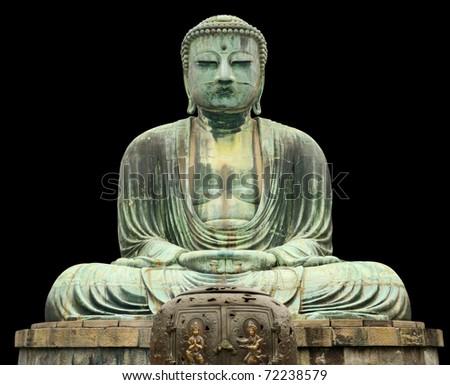 Japan, Kamakura, Great Buddha statue, front view, isolated on black - stock photo