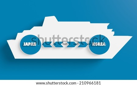 japan korea ferry boat route info in icons - stock photo