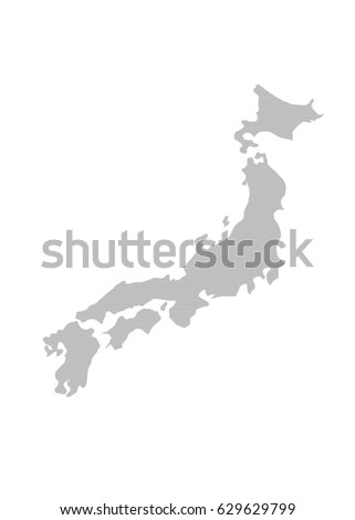 Japan Regions Map Grey Stock Vector Shutterstock - Japan map black and white