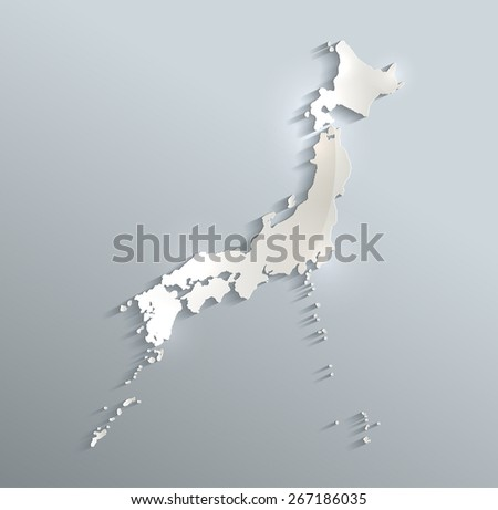 Japan map blue white card paper 3D vector infographics raster - stock photo