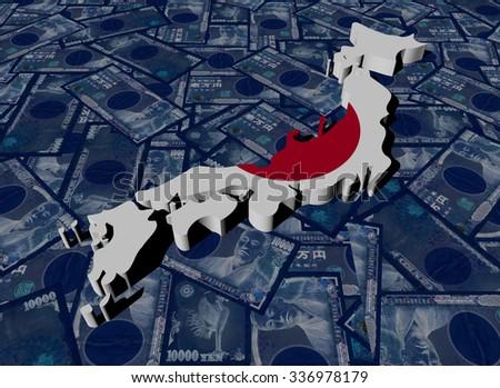 Japan Map flag on Yen illustration - stock photo