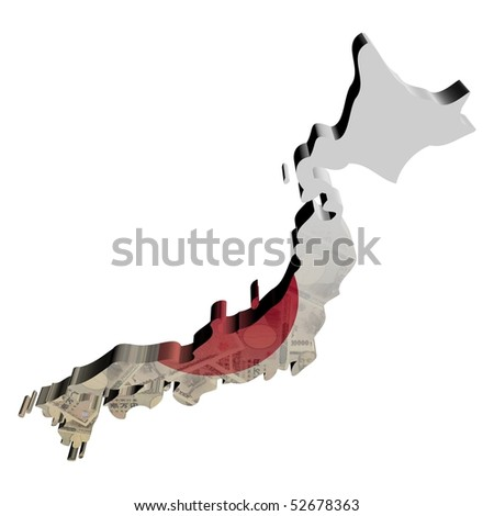 Stock Images Similar To ID D Flag Map Of Japan - Japan map 3d