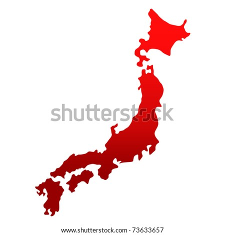 Japan map over white - stock photo