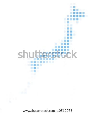 Japan Outline Map Shadow Detailed Mercator Stock Illustration - Japan map easy