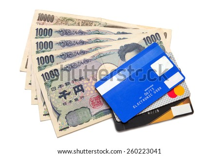 Japan notes and credit card - stock photo