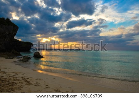 Japan Okinawa Miyakojima sandpile Beach - stock photo