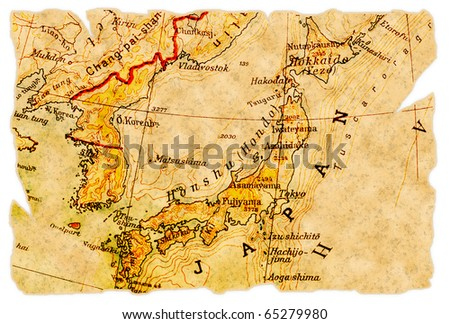 Japan on an old torn map from 1949, isolated. Part of the old map series. - stock photo