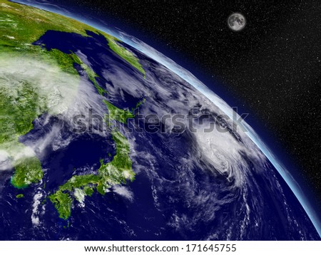 Japan on planet Earth viewed from space. Highly detailed planet surface and clouds. Elements of this image furnished by NASA.