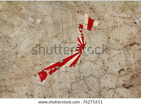 Japan painted map on dirty old grunge cement wall - stock photo