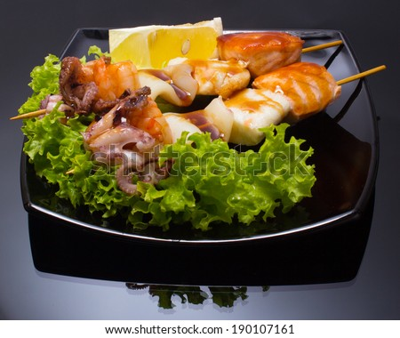 Japan Plate of Shish Kebab from sea food