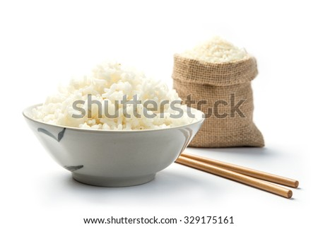 Japan rice with chopsticks isolated on a white background with shadow - stock photo