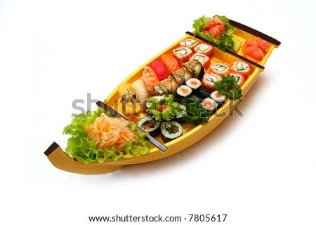 Japan Rolls at the boat - stock photo