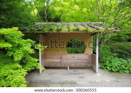 Japan seating style in zen garden - stock photo