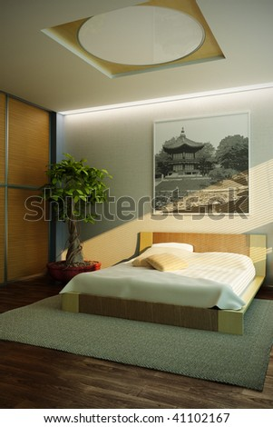 japan style bedroom interior 3d rendering - stock photo