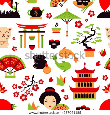 Japan symbols set with traditional food and travel icons seamless pattern  illustration