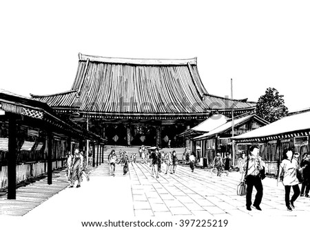Japan temple view. Black and white dashed style sketch, line art, drawing with pen and ink. Retro vintage picture. - stock photo